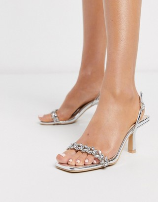 Be Mine Bridal Almeria sling back heeled sandals with embellishment in silver
