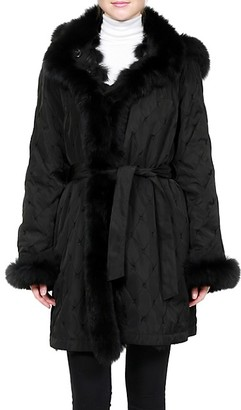 Belle Fare Fox Fur Reversible Quilted Silk Hooded Jacket