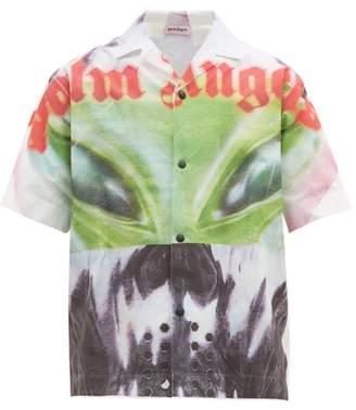 Palm Angels Alien Cotton-poplin Shirt - Mens - White Multi