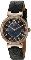 Cabochon Women's 'Saga' Quartz Stainless Steel and Black Leather Casual Watch (Model 16561-RG-01)