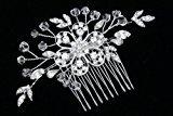 Handmade Rhinestone Crystal Beaded Bridal Wedding Tiara Hair Comb - Silver Plated FC027 by Venus Jewelry