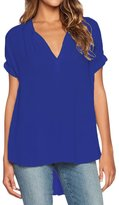 Dearlovers Women Plus Size V Neck Cuffed Sleeve Blouse Shirts Tops Royal Blue
