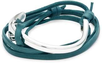 Miansai Silvertone & Leather Anchor Wrap Bracelet
