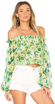 Rococo Sand Romantic Floral Top in Green. - size S (also in )