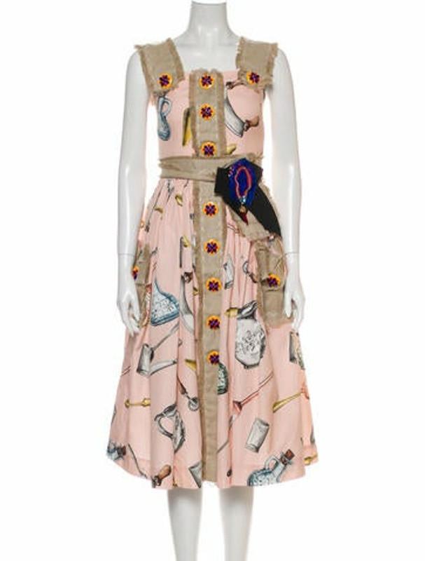 Dolce & Gabbana Printed Midi Length Dress Pink