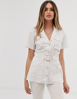 Asos Design DESIGN short sleeve longline utility shirt with belt detail