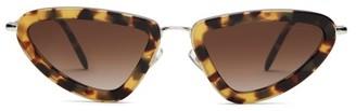 Miu Miu Triangular Cat Eye Acetate Frame Sunglasses - Womens - Tortoiseshell