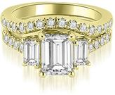 Ice 2 1/4 CT TW Lucida Three-Stone Diamond Emerald Cut Bridal Set in 18K Yellow Gold