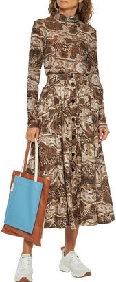 Ganni Gathered Printed Cotton-poplin Midi Skirt