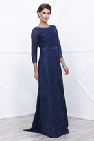 Unique Vintage Navy Blue Lace Three-Quarter Sleeve Long Dress