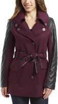 KC Collections Wine Faux Leather-Panel Belted Coat - Plus Too