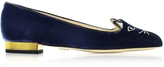 Charlotte Olympia Navy Blue Velvet Kitty Flats