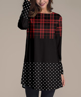 Nanu Women's Tunics Black - Black & Red Color Block Plaid Polka Dot Long-Sleeve Tunic - Women & Plus