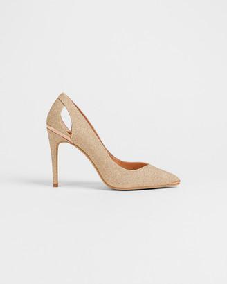 Ted Baker MISHIAM Lurex heeled court shoes