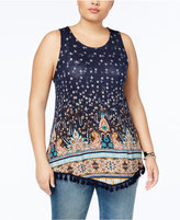 Eyeshadow Trendy Plus Size Printed Fringe Top