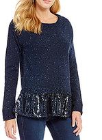Copper Key Sequin Hem Sweater