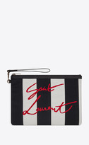 Saint Laurent Rive Gauche Slg Rive Gauche Zippered Pouch In Striped And Embroidered Canvas Black Onesize