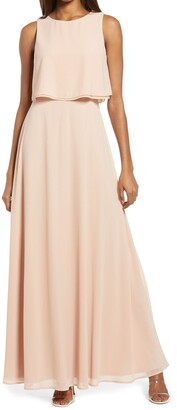 Lulus Utterly Enchanting Popover Chiffon Gown