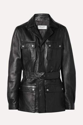 Saint Laurent Belted Leather Jacket - Black