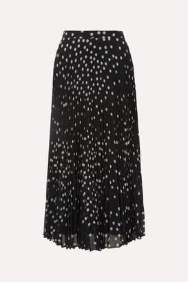 Stella McCartney Polka-dot Plisse-georgette Midi Skirt - Black