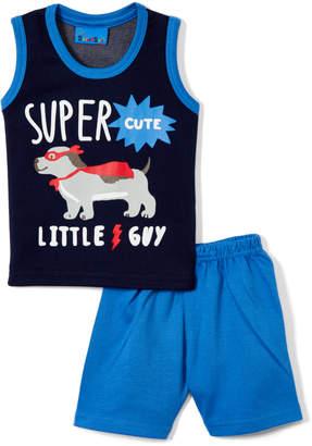 Sweet & Soft Boys' Casual Shorts Blue - Navy & Bright Blue 'Super Cute' Puppy Tank & Shorts - Infant