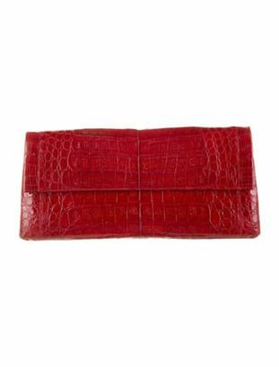 Nancy Gonzalez Crocodile Flap Clutch Red