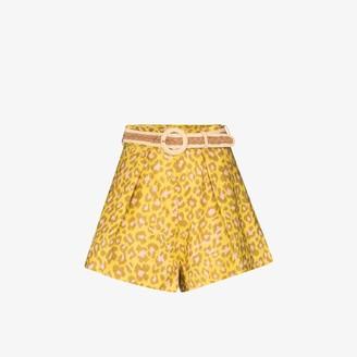 Zimmermann Carnaby leopard print linen shorts