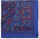 Etro Men's Leaf-Print Silk Pocket Square