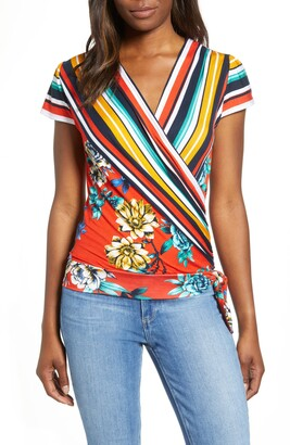 Loveappella Border Print Faux Wrap Top