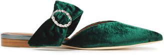 Malone Souliers Maite Crystal-embellished Velvet Point-toe Flats