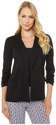 Elliott Lauren Stretch Knit Pique Blazer with Princess Seams and Ruched Sleeves (Black) Women's Clothing