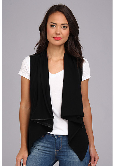 Blank NYC Vegan Leather and Ponte Drape Vest in Private Practice