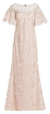 Teri Jon by Rickie Freeman Women's Lace Flutter-Sleeve Gown