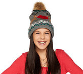 Aeropostale Light Up Reindeer Motif Hat with Faux Fur Pom Pom