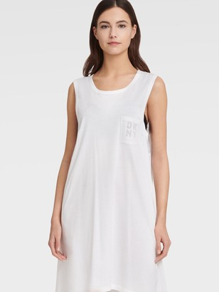 DKNY Women's Mesh Back Tunic Dress With Pocket Logo - Soft White - Size Small/Mediums