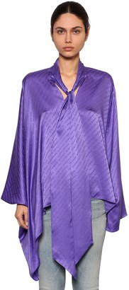 Balenciaga Draped Satin Jacquard Shirt