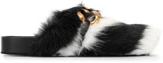 No.21 Chunky Chain-Embellished Eco Zebra-Stripe Fur Slides