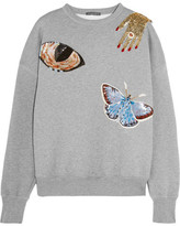 Alexander McQueen Embellished Cotton Sweatshirt - Gray