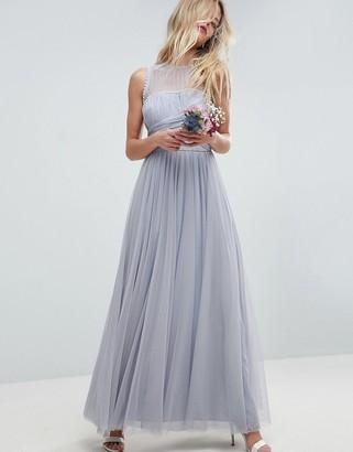 Asos Design DESIGN Bridesmaid maxi prom dress with pearl trim-Blue