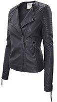 Timestory Ever77 Women's Classic Asymmetrical Zip Placket Faux Leather Jacket/TJ1031CI-,L