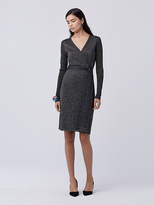Diane von Furstenberg Evelyn Metallic Knit Wrap Dress