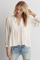 American Eagle Outfitters AE Embroidered Button Top
