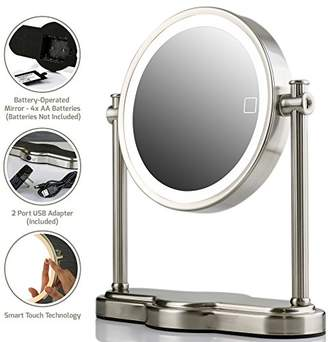 Ovente LED Lighted Makeup Mirror SmartTouch 3 Tone Lighting Tabletop Vanity Mirror Battery or USB Adapter Operated 1x 5x Magnification 8 Inch (MHT80BR1X5X)