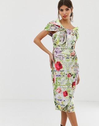 ASOS DESIGN Structured Twist Pencil Midi Dress In Postcard Print