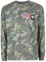 Topman Khaki Camo Badged Sweatshirt