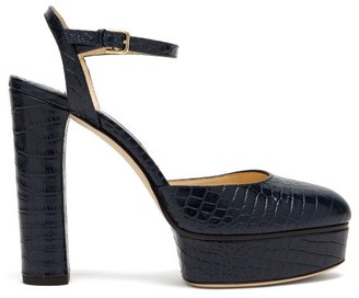 Jimmy Choo Maple 125 Crocodile Effect Leather Platform Pumps - Womens - Navy