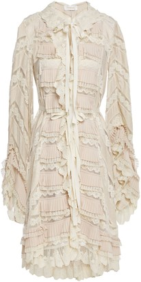 Zimmermann Tiered Pleated Lace, Crepe And Polka-dot Satin Dress