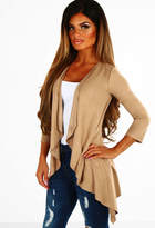 Pink Boutique Helene Camel Faux Suede Waterfall Jacket