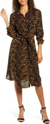 BeachLunchLounge Animal Print Long Sleeve Shirtdress