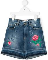 Gaelle Paris Kids distressed floral embroidered shorts